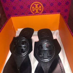 Tory Burch Louisa wedge black sandal sz 7.5